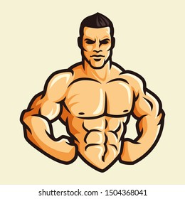 Vector of muscle man flexing show his body in confidence, color vintage retro style, fitness gym bodybuilder.