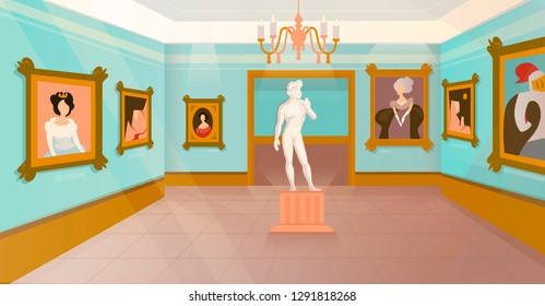Vector museum exhibition of paintings on walls and antique statue.