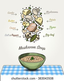 Vector Mushroom Soup in Bowl with Ingredients