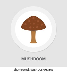 Vector Mushroom vegetable illustration isolated, nature organic fungus - vegetarian veggie silhouette