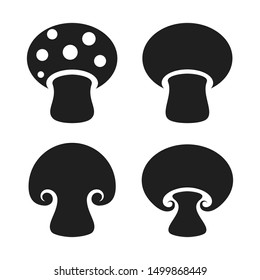 Vector mushrooms icons set on white background