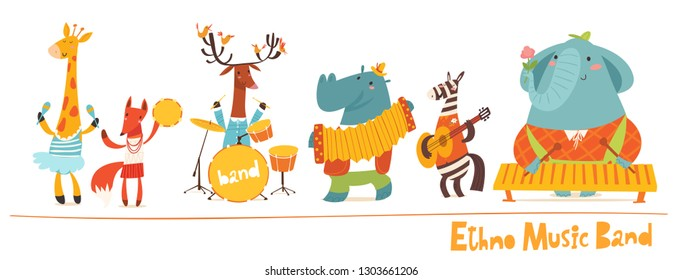 Vector music animals band characters. Vector musitians, cartoon animals playing music. Ethno music concert card