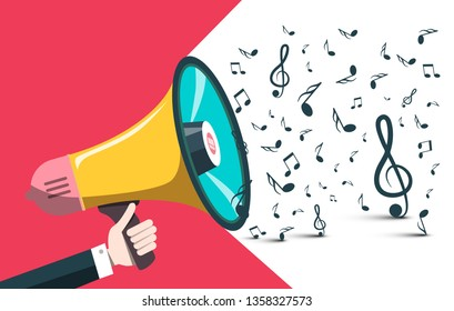 Vector Music Background with Notes and Hand Holding Loudspeaker - Megaphone