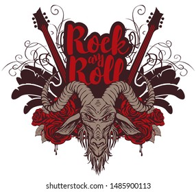 Vector music banner with goat head, electric guitar, wings, red roses, drips of blood and inscription Rock and roll. Creative illustration for t-shirt design in modern style