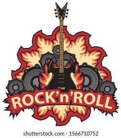 Vector music banner with lettering Rock and roll, an electric guitar, speakers and fire in modern style. Creative illustration, suitable for flyer, poster, t-shirt design, tattoo, icon, logo, label