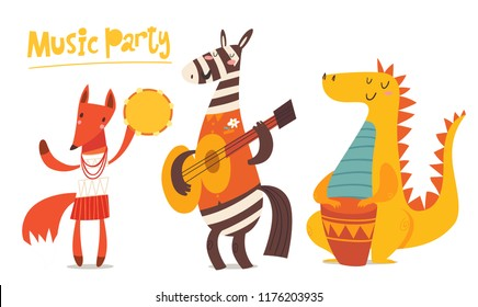 Vector music cardr with cartoon animals musicians playing musical instruents. Jazz concert poster. Funny characters.