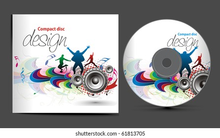 vector music cd cover design template with copy space, vector illustration