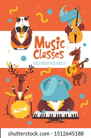 Vector music classes advertisement poster or flyer design with cartoon animals playing music instruments. Placard template for jazz concert or festival in modern flat style.