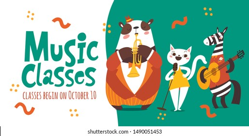 Vector music classes flyer design with cute cartoon animals playing music instruments and singing.Template for jazz concert, festival or music event in modern flat style.