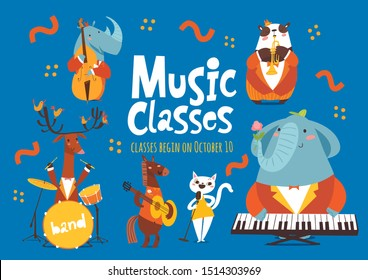 Vector music classes  poster or flyer design with cute cartoon animals playing music instruments and singing. Placard template for jazz school classes, festival or music event in modern flat style.