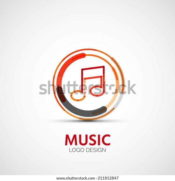 Vector music company logo design, business symbol concept, minimal line design