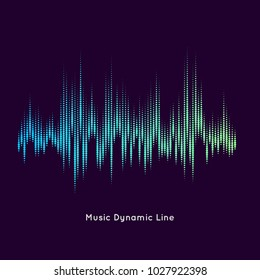 Vector music equalizer on dark background. The dynamic line