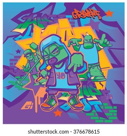 vector music hip hop and graffiti style