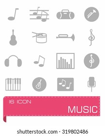 Vector Music icon set on grey background