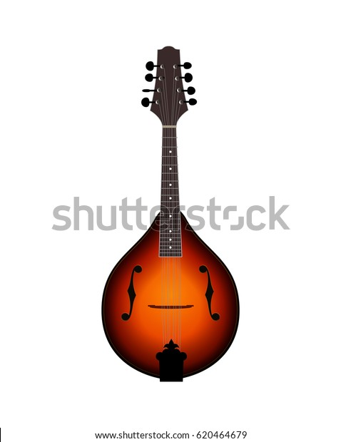 Vector Music Illustration of Mandolin isolated on white background. Folk String Instrument in Classical Sunburst Colors.