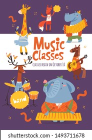 Vector music lessons or classes  poster or flyer design with cute cartoon animals playing music instruments Template for jazz concert, festival or music event in modern flat style.