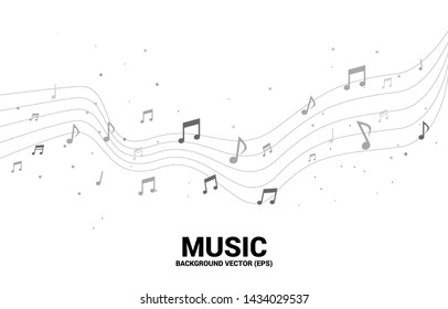Vector music melody note dancing flow . Concept background for song and concert theme.