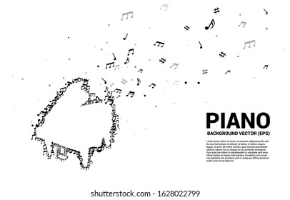 Vector music melody note dancing flow shape piano icon . Concept background for song and concert theme.