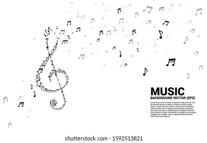 Vector music melody shape sol key note dancing flow . Concept background for song and concert theme.