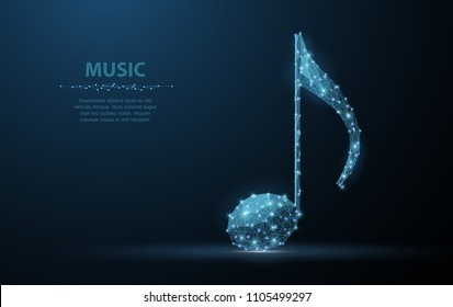 Vector music note. Abstract wire low poy quarter note illustration on dark blue background with stars. Musical classical sound, art, melody symbol