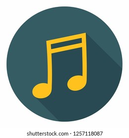 Vector music note icon sign melody. Illustration of melody symbol in flat style.