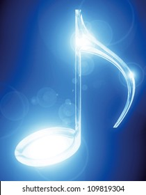Vector music note on a soft blue background