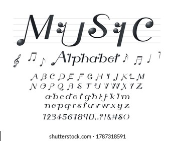 vector of music note style alphabet design