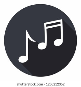 Vector music notes icon sign melody. Illustration of melody symbol in flat style.