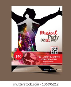 Vector Music party brochure, flyer, magazine cover & poster template