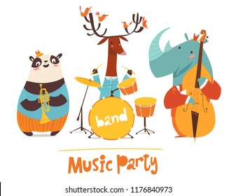 Vector music party poster with cartoon animals musicians playing musical instruents. Jazz concert poster.