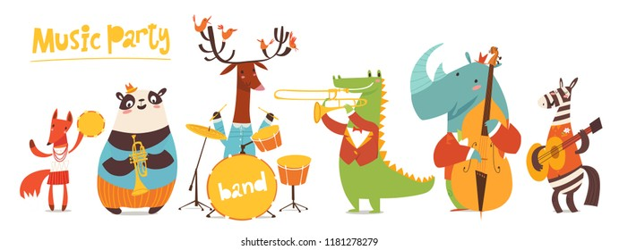 Vector music poster with cartoon animals musicians playing musical instruents. Jazz concert poster.