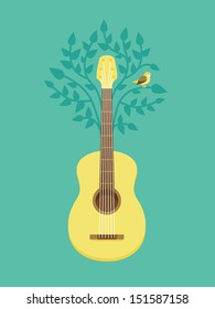 Vector music poster in flat retro style - guitar and bird on tree