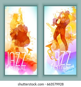 Vector music poster templates set. Hand drawn Watercolor stain background. Abstract background for card, brochure, banner, web design.