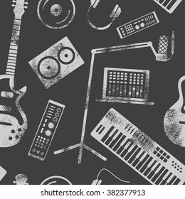 Vector music production seamless pattern. Speaker, laptop, headphones, microphone, amplifier, plate, synthesizer, electric guitar.