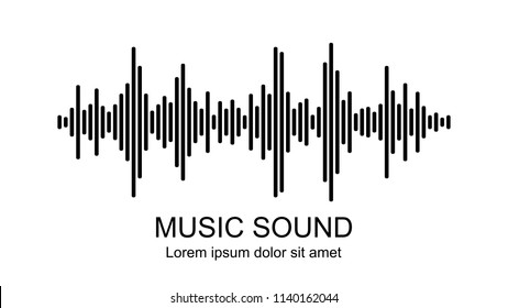 Vector music sound waves on white background. Audio equalizer icon.