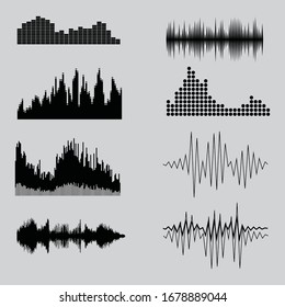 Vector music sound waves set. Audio sound equalizer technology, pulse musical. Vector illustration.