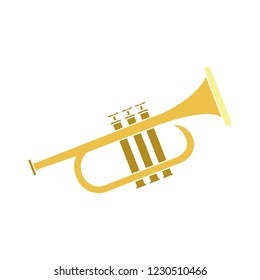 vector music trumpet isolated icon - musical instrument illustration sign . orchestra concert musician saxophone sign symbol
