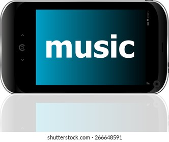 vector music word on smart mobile phone, holiday concept
