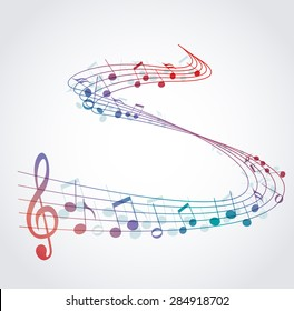 Vector musical background with colored notes, melody