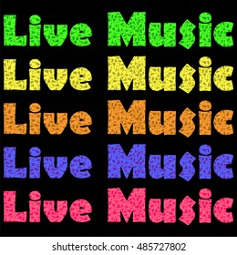 Vector Musical Background. Guitar Silhouettes Pattern. Decorative Live Music Text
