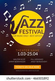 Vector musical flyer Jazz festival. Music poster background festival banner or flyer template