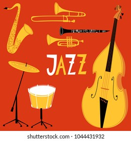 Vector musical instruments for jazz poster or card.