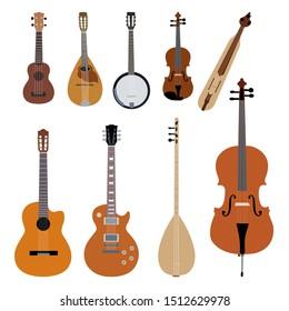 Vector musical instruments with violin, guitar, stringed instruments, bass, mandolin, ukulele, charango, oud, berimbau.