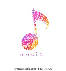 Vector musical note of floral shapes. Music logo design template. Original icon. Abstract decorative sign. Color illustration for print, web
