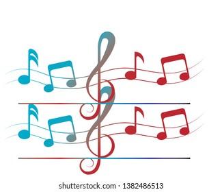 vector musical notes vector background - Vector