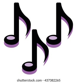 Vector Musical Notes Isolated On White Background