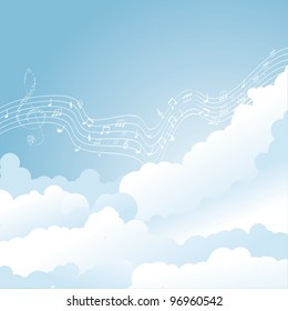 Vector musical notes staff in clouds. vector illustration