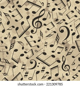 Vector musical pattern with notes. Vector illustration. Grunge background with drops and splashes