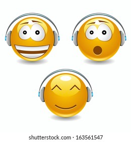 Vector musical smiles with headphones