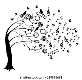 vector musical tree with notes